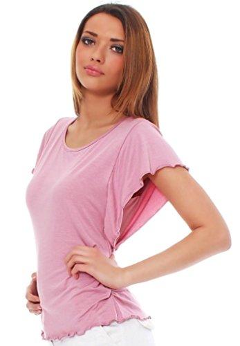 Mississhop Damen Shirt mit Schmetterlingsärmeln Tshirt Top Bluse Longshirt Tunika Tanktop Fala Puderrosa S