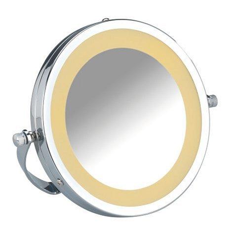 Miroir cosmétique portatif et sur pied Brolo, à DEL - 300%, chrome, miroir de Ø 11 cm, 18,5 x 16 x 4 cm