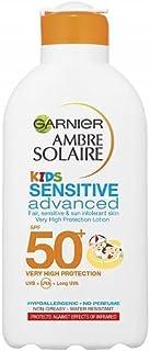 Garnier Ambre Solaire barn känslig sandbeständig solkräm SPF50+, högt solskydd barn solkräm lotion SPF50+ 200 ml