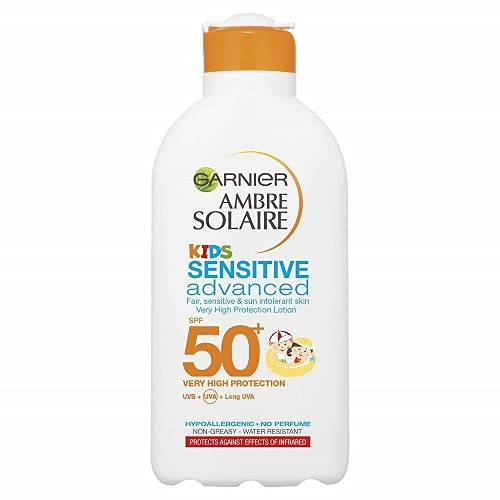 Garnier Ambre Solaire Kids Sensitive Sun Protection Lotion SPF 50+ 200ml, Very High Protection Sunscreen Against UVA & UVB, Moisturising Water Resistant Sun Cream For Face & Body, 5 star UVA Protection