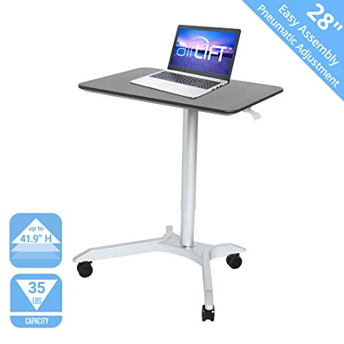 Seville Classics OFF65800 AIRLIFT XL 28' Pneumatic Height Adjustable Sit-Stand Mobile Laptop Computer Desk Cart (27.1' to 41.9' H), Espresso