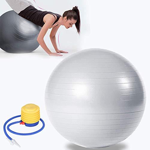 TolleTour Gymnastikball inkl Ballpumpe, Yogaball Pilates-Ball Robuster,Balance Ball bis 300kg für Core Strength Beckenübungen Sitzball Silber 75cm