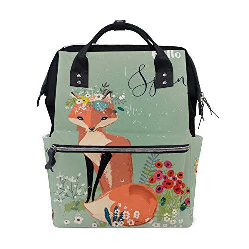 Bardic Fox avec une couronne Sac à langer étanche Grande capacité Sac à langer étanche Sac de voyage pour femme pour homme