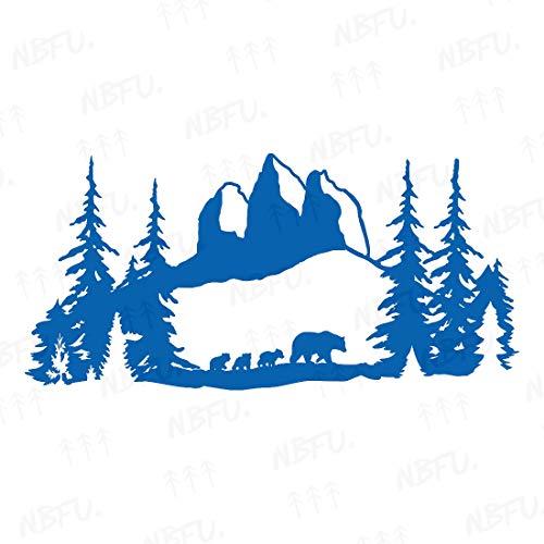 NBFU DECALS Bear Mom Mountains Forest Adventure 2 (Azure Blue) (Set Of 2) Premium Waterproof Vinyl Decal Stickers For Laptop Phone Accessory Helmet Car Window Bumper Mug Tuber Cup Door Wall Decoration