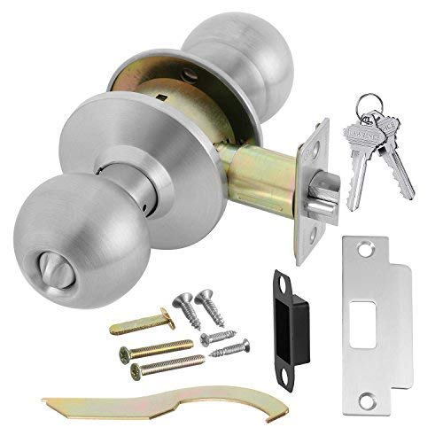 Door Knob Cylindrical Lock Entrance Function Keyed Entry & Lock Satin Stainless Steel Finish LH5304OB -US32D UL Certified ANSI/BHMA Grade 2 Commercial Door Knob for Heavy Duty Use