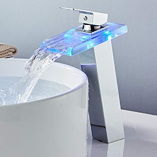 Grifo de baño moderno de alta cascada Grifo de lavabo LED Grifo de lavabo Latón Temperatura de cascada Cambio de colores Mezclador de baño Grifo