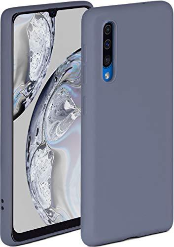 ONEFLOW Soft Hülle kompatibel mit Samsung Galaxy A50 / A30s Hülle aus Silikon, erhöhte Kante für Displayschutz, zweilagig, weiche Handyhülle - matt Blau Grau