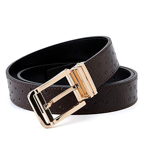 Grasschen Cuero del metal del oro de la correa correas de cintura para vestir pantalones vaqueros, Marron oscuro, 130cm de longitud