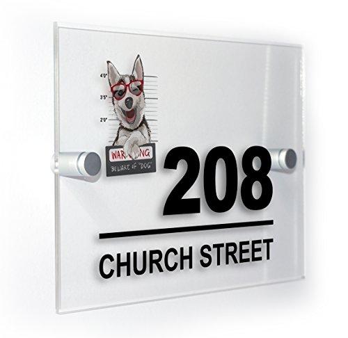 Premium Home Plaques Adidas der Hund Husky Moderner Stil mit Haus-Farben mit Plakette Schild für den Außenbereich, wasserdicht, mit Print
