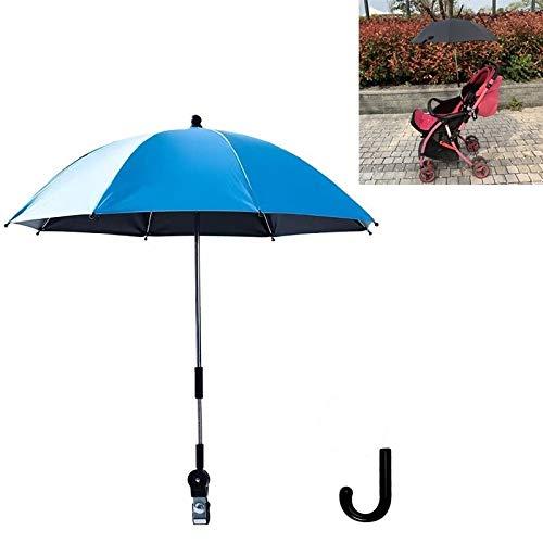 Sunshine20 Paraguas Cochecito Universal Stroller Paraguas Deslizante bebé artefacto Vinilo Anti-UV Universal Clip y Lluvia Doble Uso múltiple función 82 x 74 cm (Color : Blue)