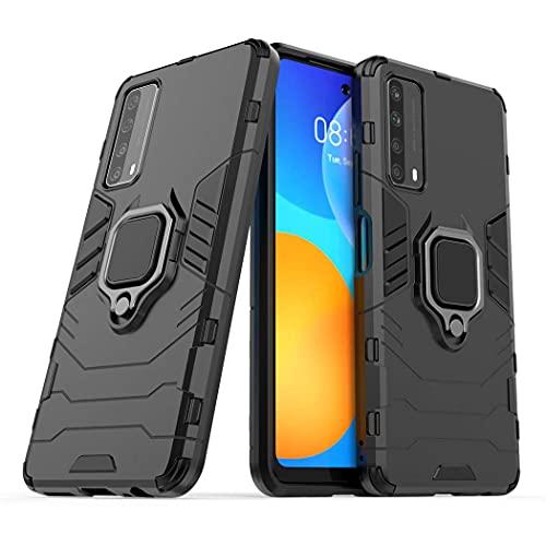 Larook Funda para Samsung Galaxy M12, TPU + PC 2 en 1 Doble protección, con Soporte Invisible, Robusta, Resistente a los arañazos, a Prueba de Golpes, Carcasa Ultrafina anticaída.-Negro
