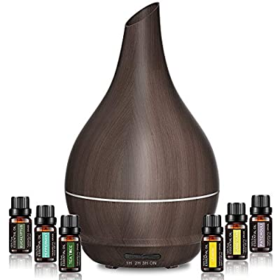 Essential Oil Diffuser with oils, Lidlife 300-400ml Upgraded Aromatherapy Diffuser Wood Grain Cool Mist Humidifier with 7 LED Colors 2 Mist Mode Waterless Auto-off for Gift Set for Home Office