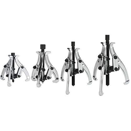 DURATECH 4-Piece 3-Jaw Gear Puller, 3', 4', 6', 8', Removal Tool for Gears, Pulleys, Bearings and Flywheels, Fully Assembled, CRV