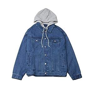 Men's Hooded Denim Jacket Button Down Jean Coat Oversized Trucker Jac...