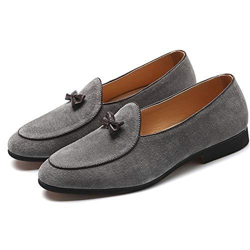 Rongjuyi Classic Oxford voor mannen roken Loafers Slip op echt leer puntige teen boog Decor anti-slip blok hak rubberen zool effen kleur schoenen
