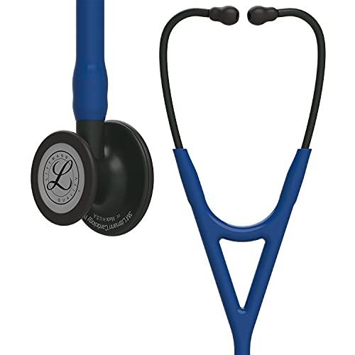 3M Littmann Cardiology IV Fonendoscopio diagnóstico, campana de acabado en color Negro, tubo Azul Marino y vástago y auricular color Negro, 69cm, 6168