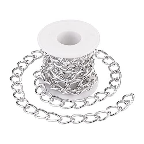 Beadthoven - Cadenas de eslabones de aluminio chapado en plata de 6,56 pies/2 m, cadena de eslabones redonda de 13 x 18 mm para hacer joyas