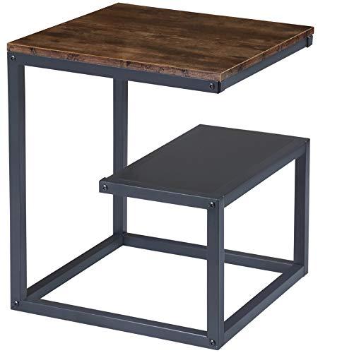 BOTONE Beistelltisch, Wohnzimmertisch, Couchtisch mit zweiter Ablage, schwarzen Metallrahmen, Industrie-Design, Vintage, rustikaler Holz-Optik (45x45x55cm)