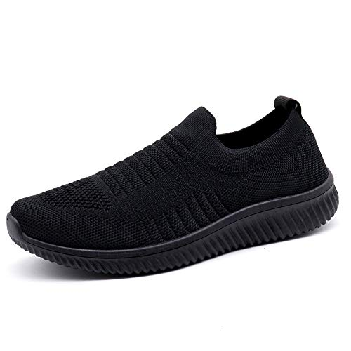 HKR Damen Walkingschuhe Atmungsaktive Sportschuhe Weiche Damenschuhe Jogging Fitness Schuhe Krankenschwester Schuhe Schwarz(003hei39)