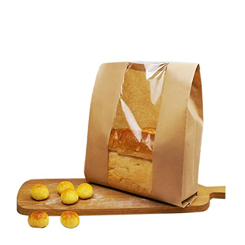 Pack of 25 Paper Bread Loaf Bag Kraft Food Packaging Storage Bakery Bag with Front Window, Label Seal sticker included (14'' X 8.3'' X 3.5'')