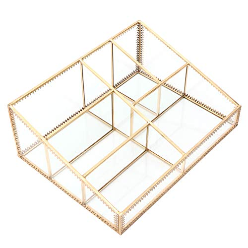 Buachois Kosmetik Aufbewahrungsbox Desktop Finishing Kupferstreifen Gold mit Gitter Trapez Geometrische Glasdekoration Große Kapazität für Badezimmer Büroraum
