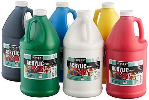 Sargent Art Acrylic Paint 1/2 Gallon Bottles, 6 Count