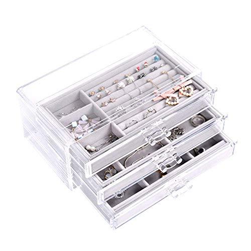 Caja de joyería de acrílico OIF, organizador de 3 capas, para pendientes, anillos, collares, pulseras, regalo de San Valentín, para mujeres y niñas, compartimentos de gamuza de lujo