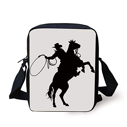 Ytavv Western,Cowboy with Rope Lasso on a Rearing Horseback Cartoon Style Silhouettes Print Decorative,Black and White Print Kids Crossbody Messenger Bag Purse