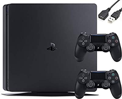 Sony PlayStation 4 PS4 Slim 1TB Gaming Console : FHD High Dynamic Range (HDR) Parental Control Capability Blu-Ray Player Bluetooth Wi-Fi HDMI Black (Two Controllers Included + iCarp USB Extension) from Sony
