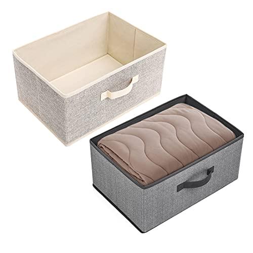 Sooair Cajas de Almacenaje, 2 Piezas Sin Tapa Cajas Organizadoras, Caja de Almacenaje para Ropa Juguetes Libros Oficina Escritorio Maquillaje Cuarto Cajones Organizadores(Beige+Gris, M, 40x28x20)