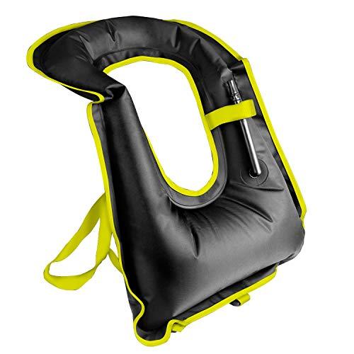 Rrtizan Unisex-Erwachsene Tragbar Aufblasbar Schwimmweste Schnorchel Weste für Tauchen Sicher (Schwarz)