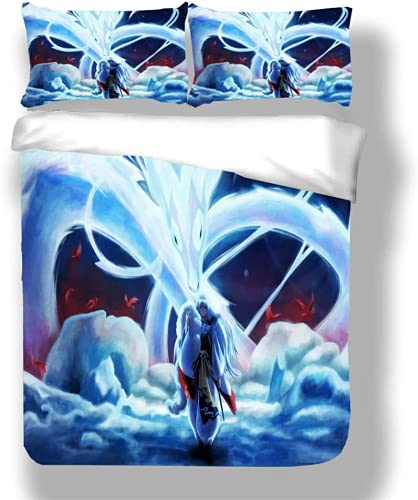 BXCLGM Inuyasha - Juego de ropa de cama, diseño de manga japonesa y anime, apto para todas las estaciones, fácil de limpiar (Inuyasha3, 200 x 200 cm + 80 x 80 cm x 2)