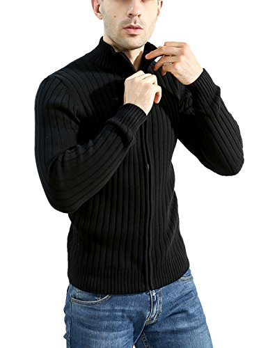 Lentta Men's Long Sleeve Stand Collar Full Zip Up Solid Cotton Cardigan Sweater (Large, Black)