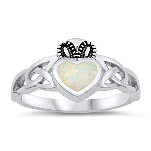 White Simulated Opal Celtic Knot Claddagh Heart Ring Sterling Silver Band Size 8