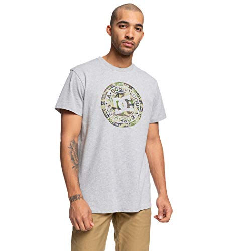 DC Shoes Circle Star-T-Shirt pour Homme, Grey Heather/Camo, FR (Taille Fabricant : XL)