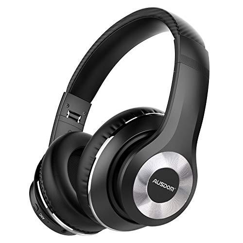 AUSDOM ANC10 Auriculares Diadema Bluetooth 5.0 con Cancelacón Activa de Ruido, Cascos Inalámbricos Bluetooth con Micrófono Hi-Fi Deep Bass,Cómodo Protein Earpads, para PC/Teléfonos Celulares/TV-Negro