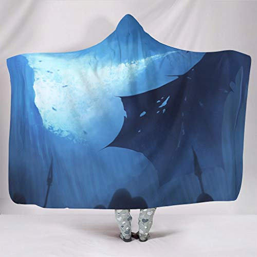Knuffelig met capuchon deken blauw vliegende draak rook, fantasy mythologie dier legende druk warmer winter fleece mystisch cape Throw wwrap deken met capuchon camping bank wooncultuur