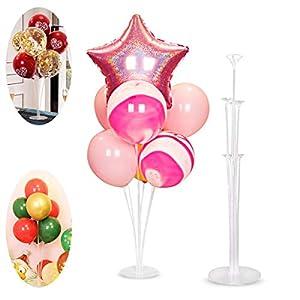 NAOLIU Support de Ballon, Beau Decoration Table Anniversaire, Recyclable Arbre à Ballon, 2 Pièces Tige Ballon Helium, Réutilisable Support Ballon Anniversaire, pour Fête, Mariage, Halloween, De noël