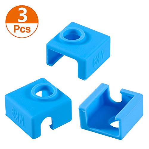 3D Printer Heater Block Silicone Cover, Aokin MK7 MK8 MK9 Silicone Sock for MK7/8/9 3D Printer Hotend Extruder, Creality CR-10, S4, S5, Ender 3, Anet A8, Blue