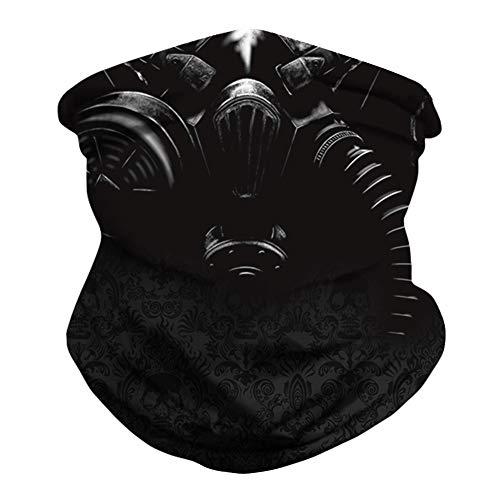 Seamless Face Mask Bandana Rave Neck Gaiter Scarf Face Cover Women Men Dust UV Headwear Shield Magic Outdoor Balaclava Headband Sweatband Head Wrap for Motorcycle Workout Running Riding(Black Skull)