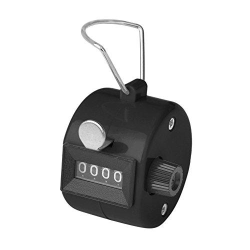 GOGO 4 stellige Manueller Minizähler, Handzähler Counter Klicker Schrittzähler - mechanischer Clicker - Mechanischer Mengenzähler, ABS für Sportveranstaltungen Trainerschule - Schwarz