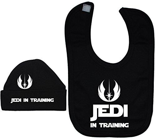 Jedi in Training bébé Bavoir et bonnet/Casquette de Star Wars – Noir – 3–6 mois – Noir