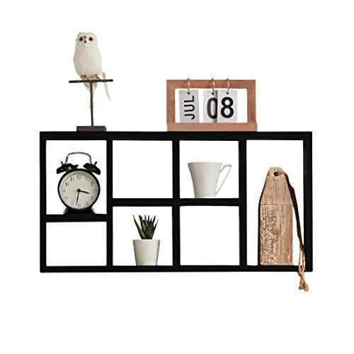 Sunon Wandregal kleines dekoratives Hängeregal chwebend aus MDF-Holz für Küche, Bad, Wohnzimmer, Kinderzimmer, 61x31.5x7.6CM, Schwarz