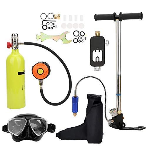 Liukouu Ausrüstung für Tauchflaschen, 1L Mini-Tauchflaschen-Hochdruckluftpumpe mit 15-20-minütigem Tauchflaschen-Inflator-Tauchausrüstungssatz für Unterwassertauchen, Atemtraining(Grün)
