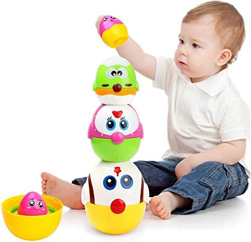 LUKAT Easter Egg Toys for Toddler 8 Pcs Nesting Stacking Chicks Toys Matching Game for 1 2 3 product image