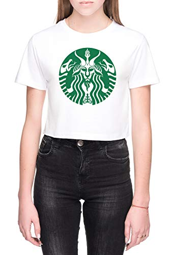 Rood Kop Baphomet Dames Crop T-Shirt Wit Women's Crop T-Shirt White