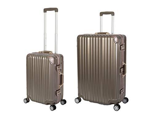 Travelhouse London Koffer Gold S-55cm, L-55cm · 2er-Set · Alu-Rahmen · Polykarbonat Hartschale · Handgepäckkoffer +Reisegepäck Reisetrolley Trolley...