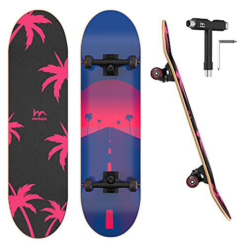 "M Merkapa 31"" Pro Complete Skateboard 7 Layer Canadian Maple Double Kick Deck Concave Skateboards"