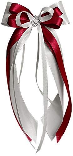 unser schönster Tag Antennenschleifen Autoschleifen Autoschmuck Hochzeit SCH0008 Creme Bordeaux (10 Stück)