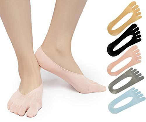 SendYouShine Mujer Respirable Calcetines del dedo del pie Compresión Calcetines Forro de Corte Ultra Bajo Antideslizante con lengüeta de gel Calcetines para correr yoga Ortopédicos Calcetines 36-42